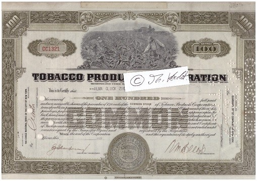 ORIGINAL-AKTIE Tobacco Products Corporation Limited stock certificate 1930's, 100 SHARES