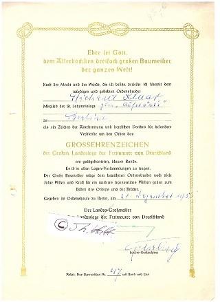 PAUL HOFFMANN (Daten unbekannt) Dr.Dr., 1948-57 Landes-Großmeister der Grossen Landesloge der Freimaurer von Deutschland (GLLFvD)