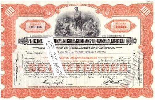 ORIGINAL-AKTIE International Nickel Company of Canada Limited stock certificate 1950's, 100 SHARES
